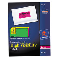Avery 5978 2 inch x 4 inch High-Visibility Assorted Neon ID Labels - 150/Pack