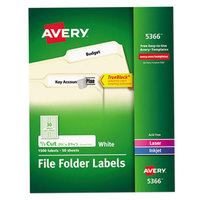 Avery 5366 TrueBlock 2/3 inch x 3 7/16 inch White File Folder Labels - 1500/Box
