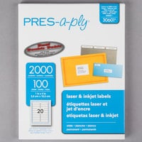 Avery 30601 PRES-a-ply 1 inch x 4 inch White Rectangular Laser Address Labels - 2000/Box