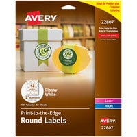 Avery 22807 Easy Peel 2 inch True Print White Glossy Round Print-to-the-Edge Labels - 120/Pack