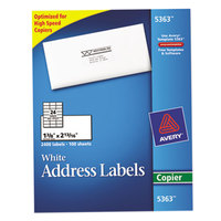 Avery 5363 1 3/8 inch x 2 13/16 inch White Copier Mailing Address Labels - 2400/Box