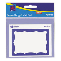 Avery 45144 3 inch x 4 inch Blue and White Name Badge Labels - 40/Pack