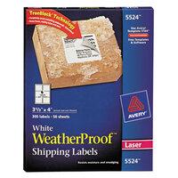 Avery 5524 TrueBlock 3 1/3 inch x 4 inch Weatherproof White Shipping Labels - 300/Pack