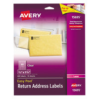 Avery 15695 Easy Peel 2/3 inch x 1 3/4 inch Clear Laser Printer Return Address Labels - 600/Pack