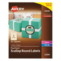 Avery 22836 2 1/2 inch Pearlized Ivory Scalloped Round Print-to-the-Edge Labels - 72/Pack