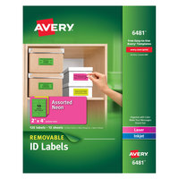 Avery 6481 2 inch x 4 inch Assorted Neon Color Removable ID Labels - 120/Pack