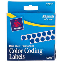 Avery 5793 1/4 inch Blue Round Permanent Write-On Color Coding Labels - 450/Pack