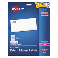 Avery 5195 Easy Peel 2/3 inch x 1 3/4 inch Printable Return Address Labels - 1500/Pack