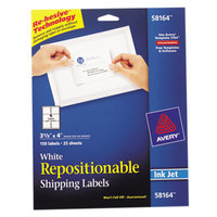 Avery 58164 3 1/3 inch x 4 inch White Repositionable Shipping Labels - 150/Pack