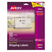 Avery 15664 Easy Peel 3 1/3 inch x 4 inch Clear Laser Printer Shipping Labels - 60/Pack
