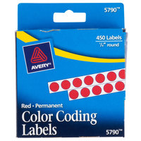 Avery 05790 1/4 inch Red Round Permanent Write-On Color Coding Labels - 450/Pack