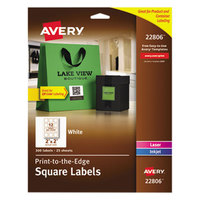 Avery 22806 Easy Peel 2 inch x 2 inch White Square Print-to-the-Edge Labels - 300/Pack