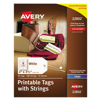Avery 22802 2 inch x 3 1/2 inch Printable Tags with Strings - 96/Pack