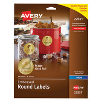 Avery 22831 Easy Peel 2 inch Gold Embossed Matte Round Foil Labels - 96/Pack