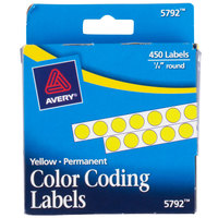Avery 5792 1/4 inch Yellow Round Permanent Write-On Color Coding Labels - 450/Pack