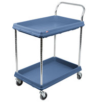 Metro BC2030-2DMB Utility Cart with Two Deep Ledge Shelves and Microban Protection 32 3/4 inch x 21 1/2 inch Slate Blue