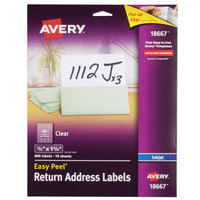 Avery 18667 Easy Peel 1/2 inch x 1 3/4 inch Clear Inkjet Printer Return Address Labels - 800/Pack