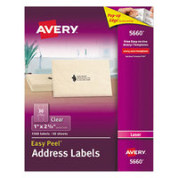 Avery 5660 1 inch x 2 5/8 inch Easy Peel Clear Mailing Address Labels - 1500/Box