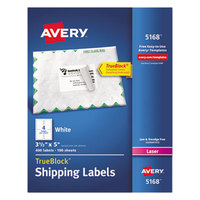 Avery 5168 TrueBlock 3 1/2 inch x 5 inch White Shipping Labels - 400/Box