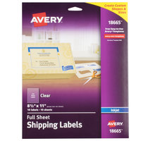 Avery 18665 8 1/2 inch x 11 inch Clear Full-Sheet Shipping Labels - 10/Pack