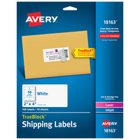 Avery 18163 TrueBlock 2 inch x 4 inch White Shipping Labels - 100/Pack