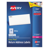 Avery 5167 Easy Peel 1/2 inch x 1 3/4 inch Printable Return Address Labels - 8000/Box