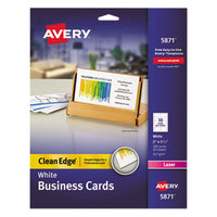 Avery 5871 2 inch x 3 1/2 inch Uncoated White Clean Edge Business Cards - 200/Pack