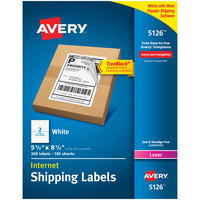 Avery 5126 5 1/2 inch x 8 1/2 inch White Shipping Labels - 200/Box