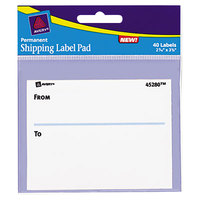 Avery 45280 3 inch x 4 inch White Permanent From/To Label Pads - 40/Pack