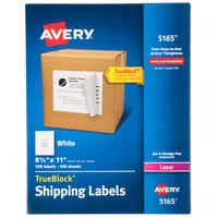 Avery 5165 8 1/2 inch x 11 inch White Full Sheet Shipping Labels - 100/Box