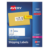 Avery 5163 2 inch x 4 inch White Shipping Labels - 1000/Box