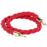 Lancaster Table & Seating Red 5' Braided Rope with Gold Ends for Rope Style Crowd Control / Guidance Stanchion