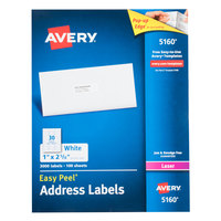 Avery 5160 1 inch x 2 5/8 inch White Easy Peel Mailing Address Labels - 3000/Box