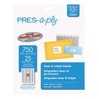 Avery 30610 1 inch x 2 5/8 inch White Laser Address Labels - 750/Pack