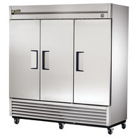 True T-72F-HC 78 1/8 inch Three Section Solid Door Reach-In Freezer