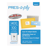 Avery 30602 1 1/3 inch x 4 inch White Laser Address Labels - 1400/Box