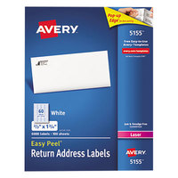 Avery 5155 2/3 inch x 1 3/4 inch White Easy Peel Mailing Address Labels - 6000/Box