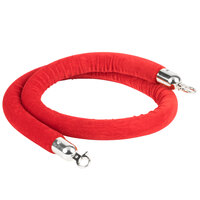 Lancaster Table & Seating Red 5' Stanchion Rope with Silver Ends for Rope Style Crowd Control / Guidance Stanchion