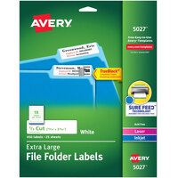 Avery 5027 15/16 inch x 3 7/16 inch White X-Large Top Tab 1/3 Cut File Folder Labels - 450/Pack