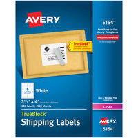 Avery 5164 3 1/3 inch x 4 inch White Shipping Labels - 600/Box