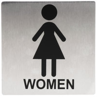 Tablecraft B11 Women's Restroom Sign - Stainless Steel, 5 inch x 5 inch