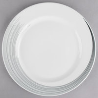 Syracuse China 927659367 Silk Tracer 12 1/4 inch Round Royal Rideau White Wide Rim Porcelain Plate - 12/Case