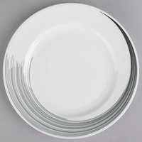 Syracuse China 927659370 Silk Tracer 8 1/4 inch Round Royal Rideau White Wide Rim Porcelain Plate - 12/Case