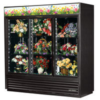 True GDM-69FC-HC-LD 78 1/8 inch Black Glass Sliding Door Floral Case