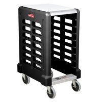 Rubbermaid FG331500BLA ProServe 8 Pan Black Max System End Load Prep Cart with Cutting Board - Unassembled