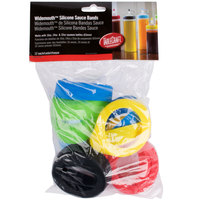 Tablecraft SB63A Assorted Silicone Widemouth Squeeze Bottle Bands (63mm) - 12/Pack