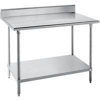 "Advance Tabco SKG-304 30"" x 48"" 16 Gauge Super Saver Stainless Steel Commercial Work Table with Undershelf and 5"" Backsplash"
