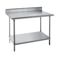 Advance Tabco SKG-304 30 inch x 48 inch 16 Gauge Super Saver Stainless Steel Commercial Work Table with Undershelf and 5 inch Backsplash