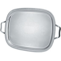 Vollrath 82373 Elegant Reflections 23 1/2 inch x 18 1/8 inch Silver Plated Stainless Steel Oblong Catering Tray with Handles