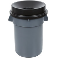 32 Gallon Gray/Black Trash Can with Black Funnel Top Lid